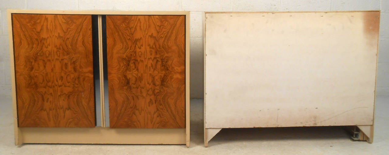 Pair Vintage Burl Front Cabinets For Sale 2