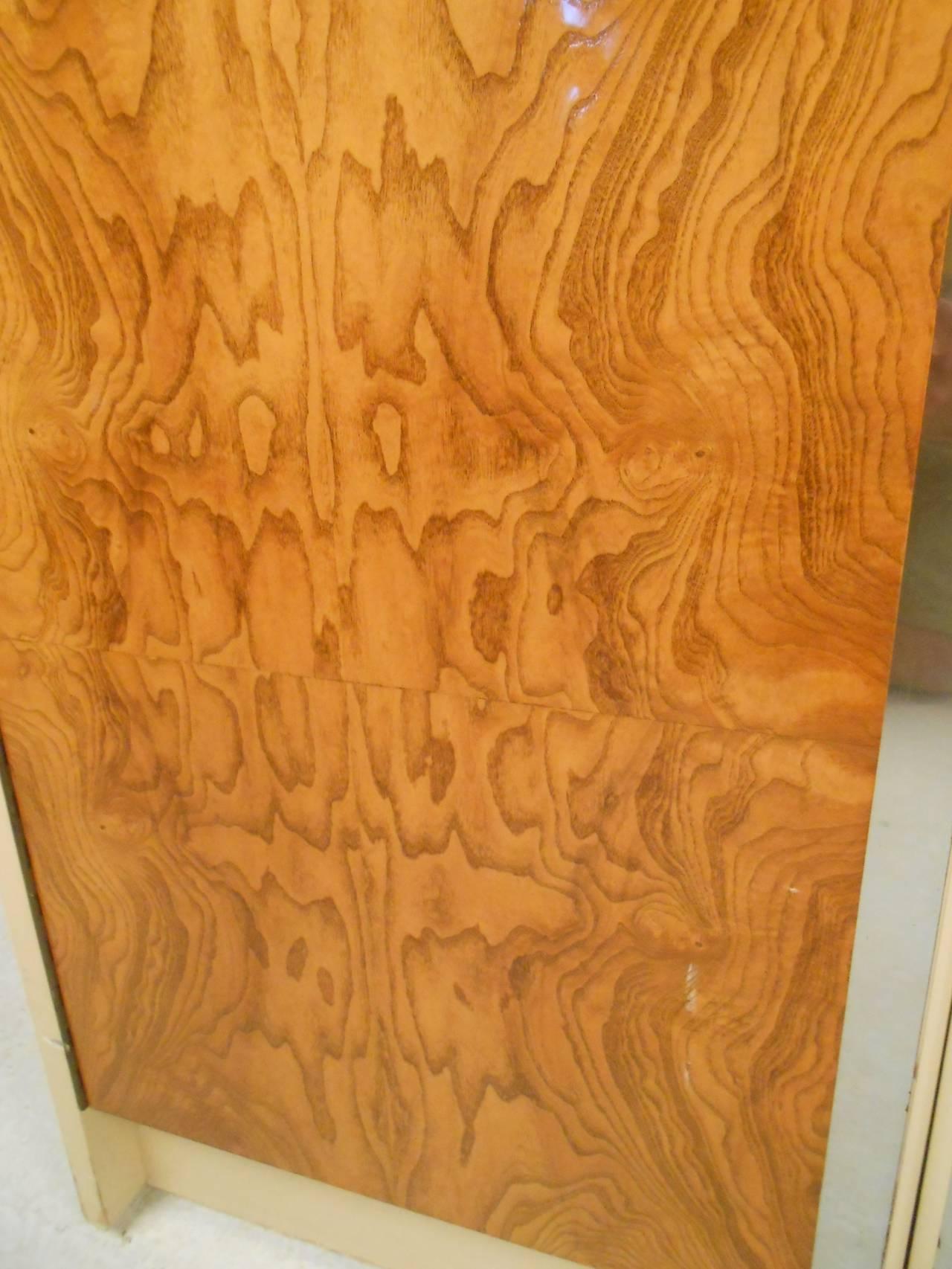 Pair Vintage Burl Front Cabinets For Sale 3