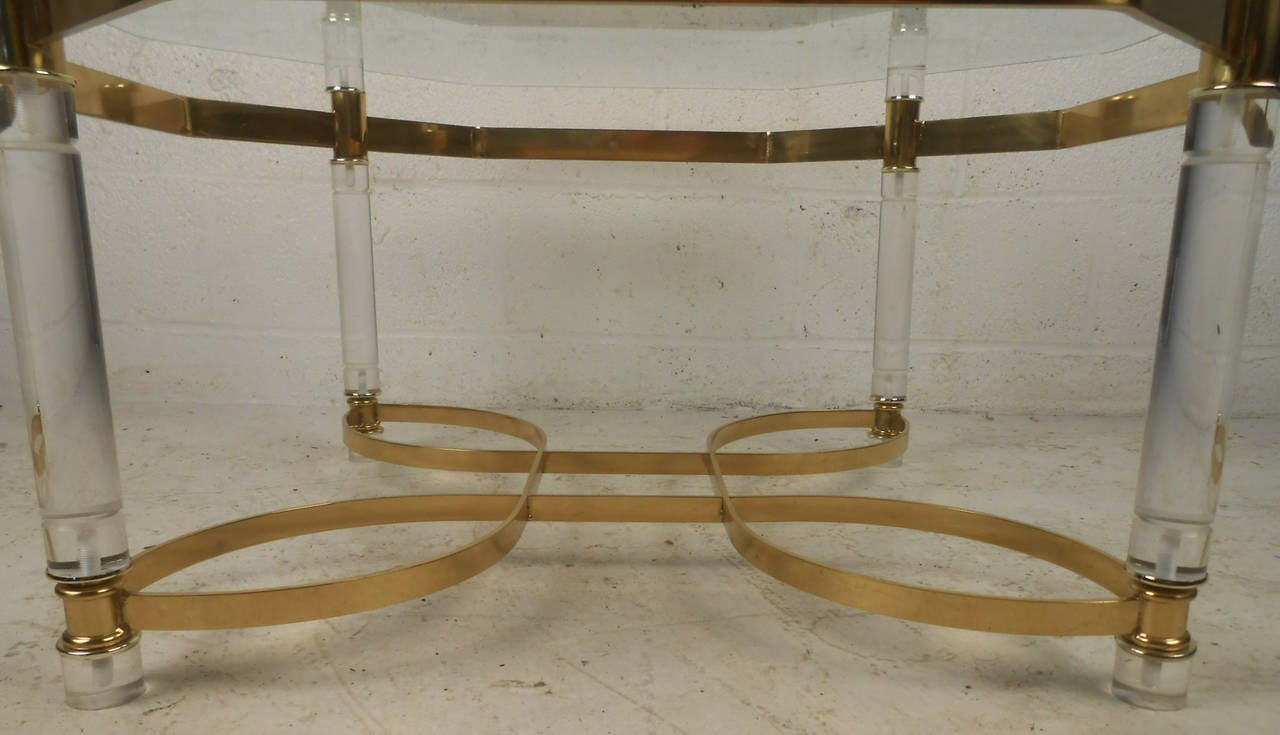 American Vintage Lucite and Brass Coffee Table For Sale