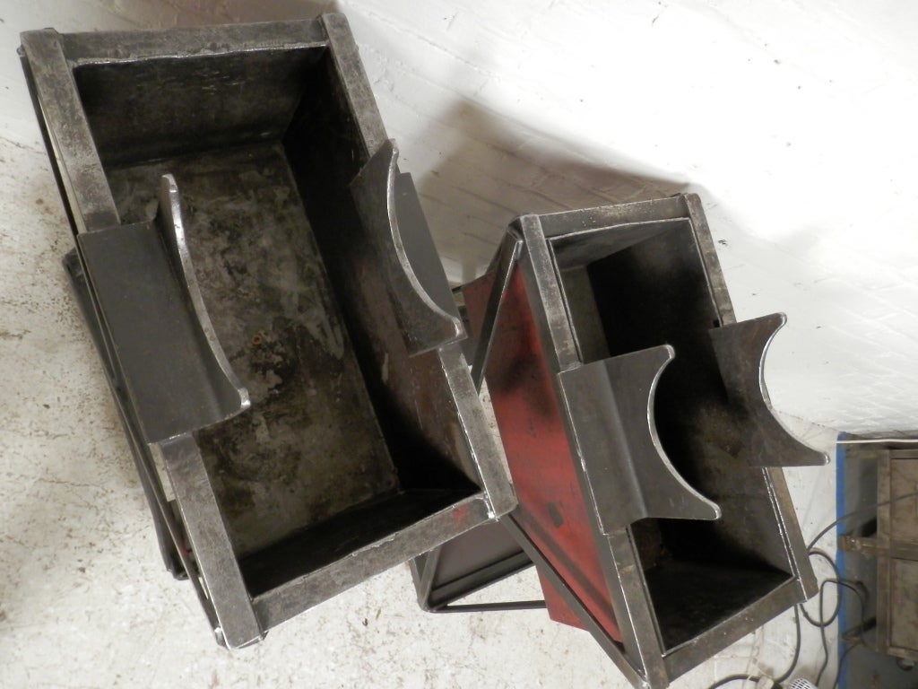 Industrial Metal Iron Planters On Casters Pair For Sale At 1stdibs