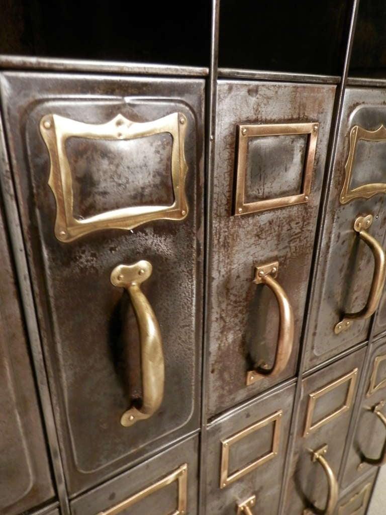 Heavy Duty Metal File Cabinet W/ Brass Hardware At 1stdibs
