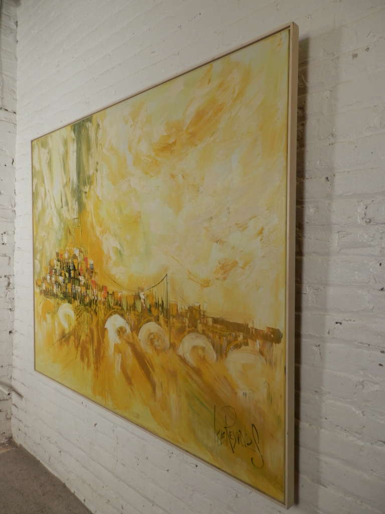 Large lee reynolds 20th century cityscape oil painting on for Lee s painting