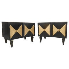 Pair of Gold and Black NightStands by David R. Harrison