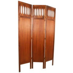 Mid-Century Modern Walnut Room Divider with Brass Trim