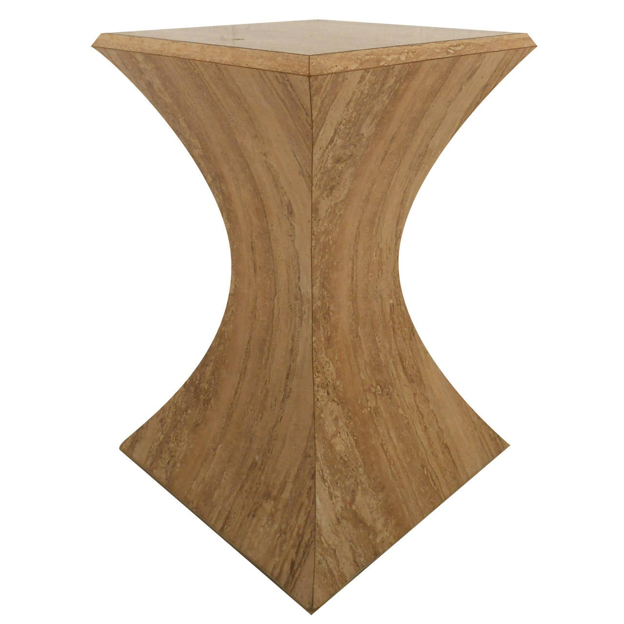 Mid-Century Modern Faux Stone Pedestal Table