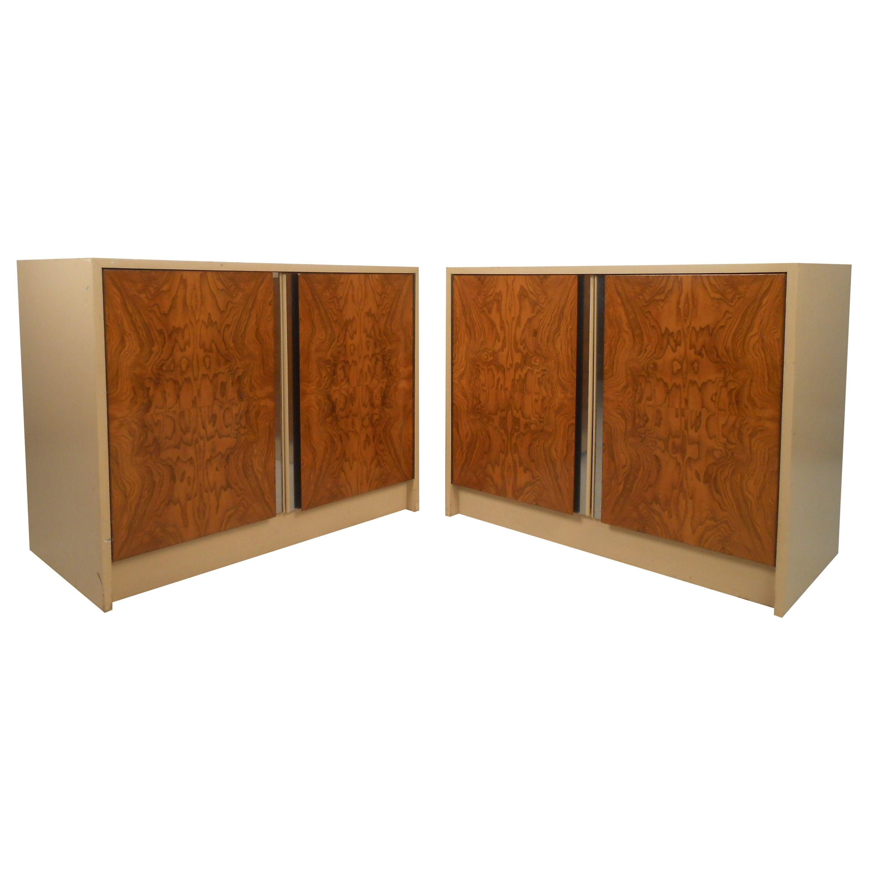 Pair Vintage Burl Front Cabinets