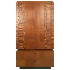 Mid-Century Modern Brutalist Staccato Armoire by Lane