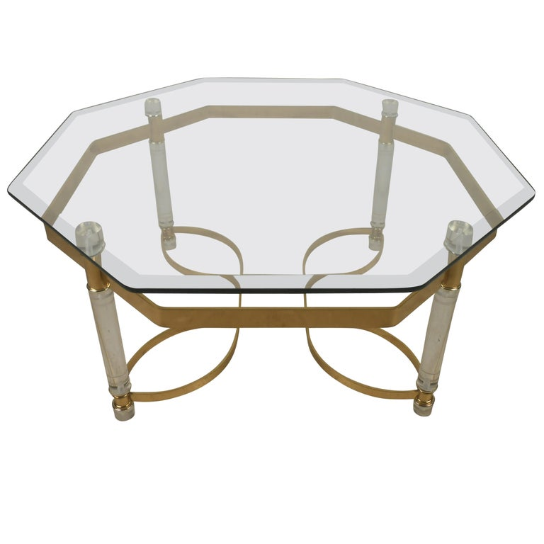 Vintage Lucite and Brass Coffee Table For Sale