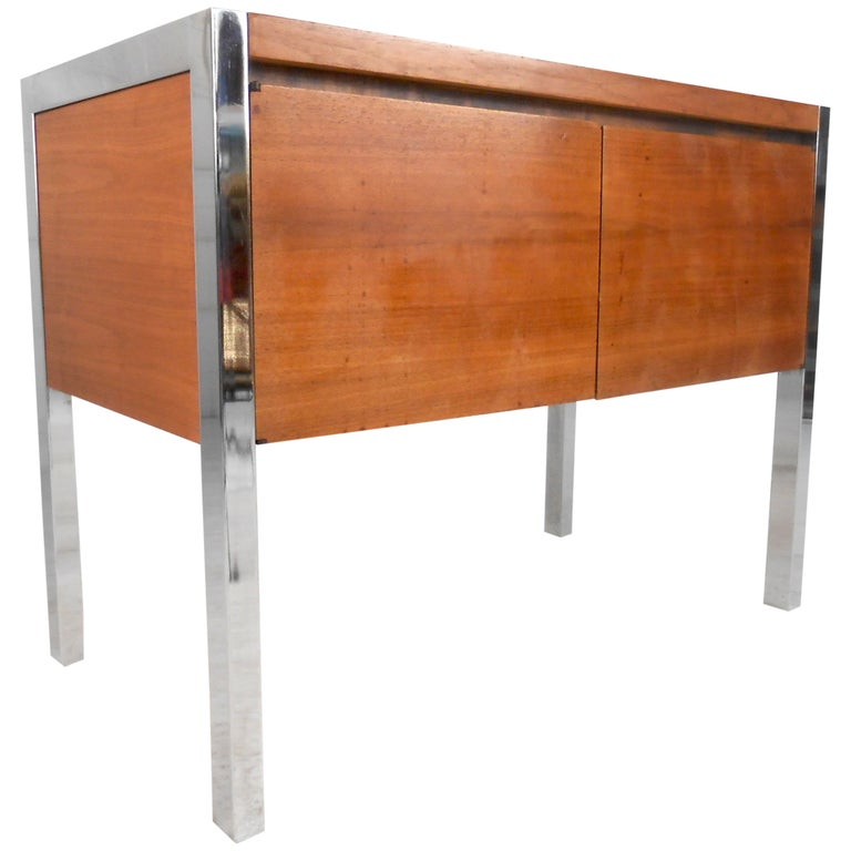 Mid-Century Modern Two-Door Cabinet with Chrome Frame For Sale