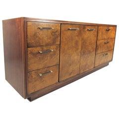Stylish Mid-Century Burlwood Bedroom Dresser