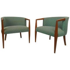 Pair of Midcentury Lounge Chairs with Walnut Frames