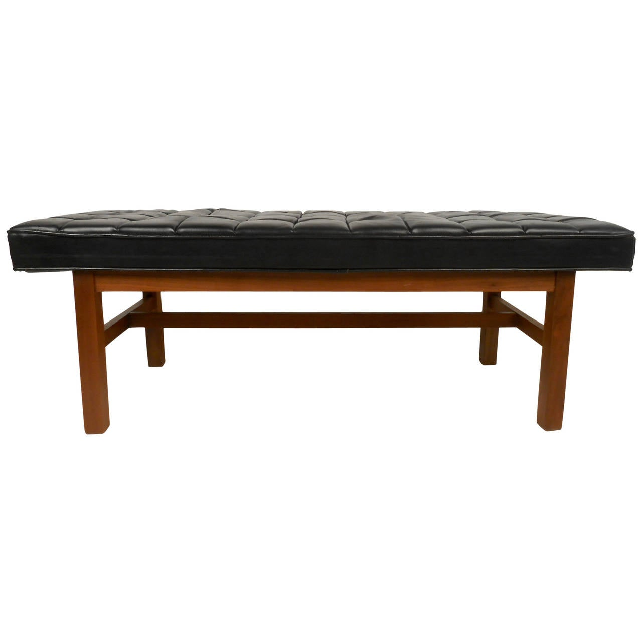 Mid century modern tufted vinyl bench for sale at stdibs