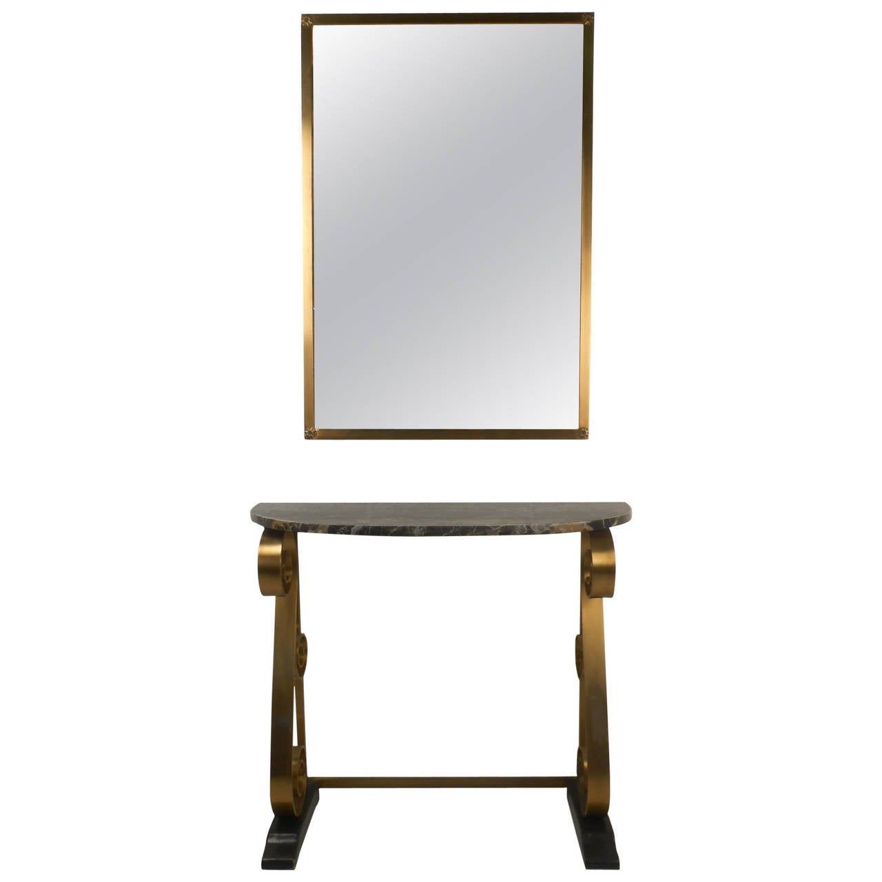 Hollywood regency style console table with marble top and for Wall table with mirror