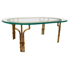Hollywood Regency Style Coffee Table with Glass Top