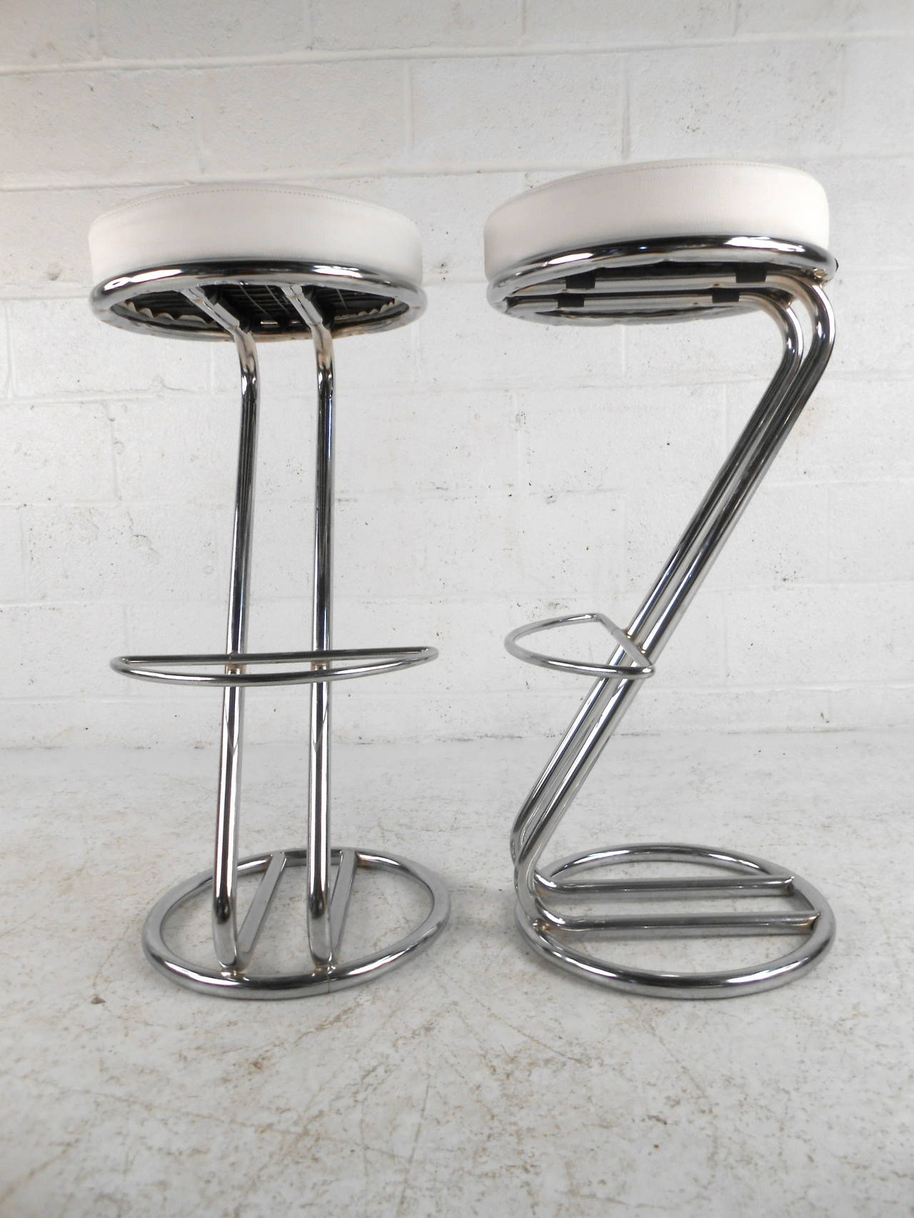 Danish pair of mid century modern chrome bar stools for sale