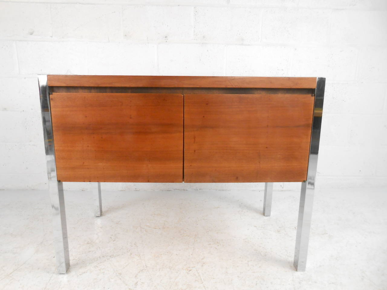 American Mid-Century Modern Two-Door Cabinet with Chrome Frame For Sale