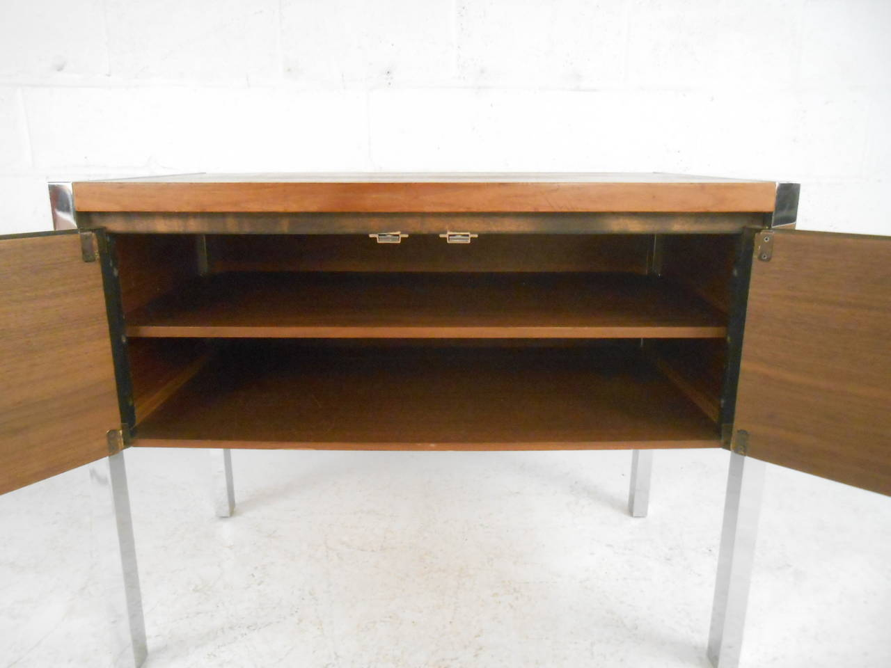 20th Century Mid-Century Modern Two-Door Cabinet with Chrome Frame For Sale