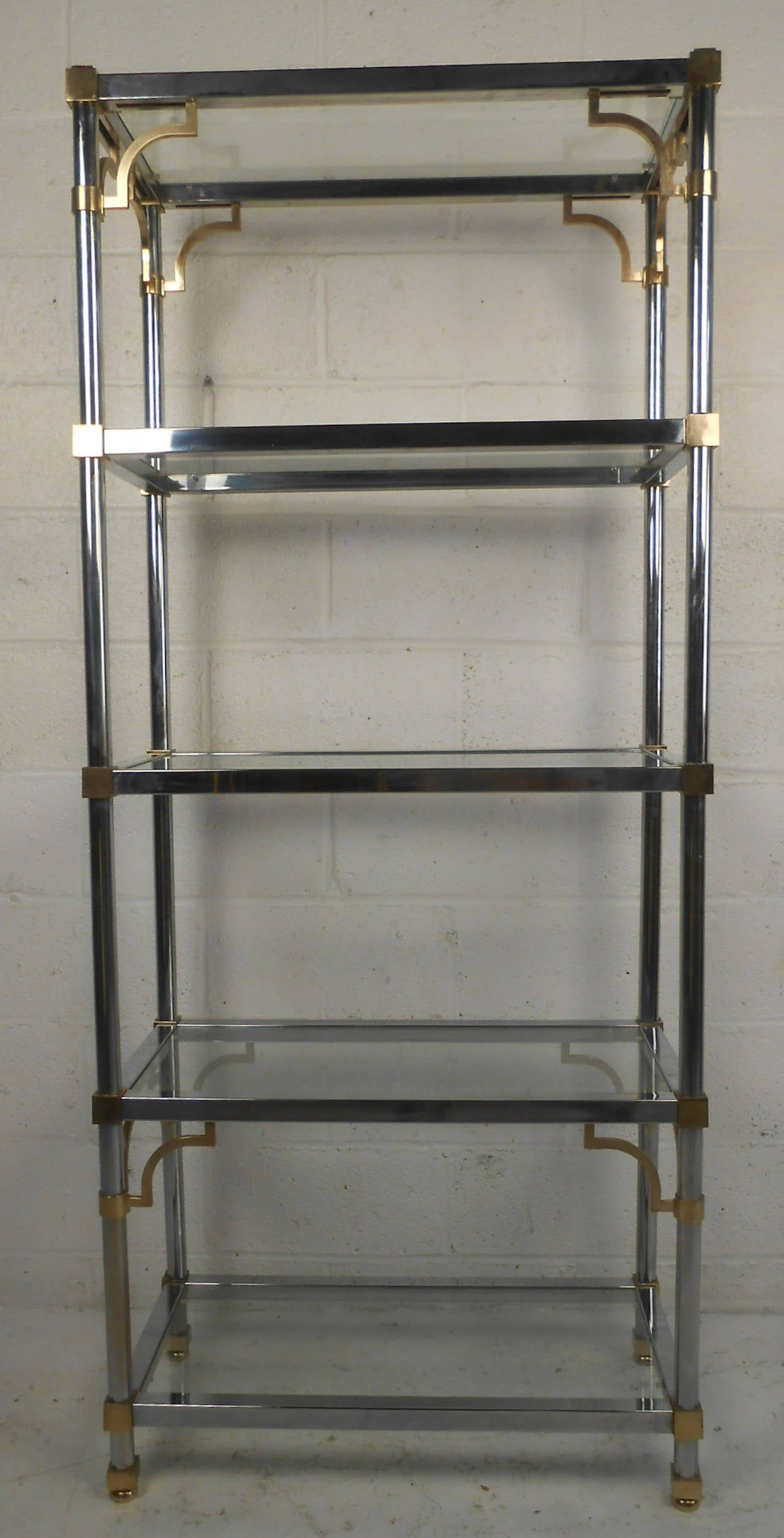 midcentury regency style chrome and brass etagere by. Black Bedroom Furniture Sets. Home Design Ideas