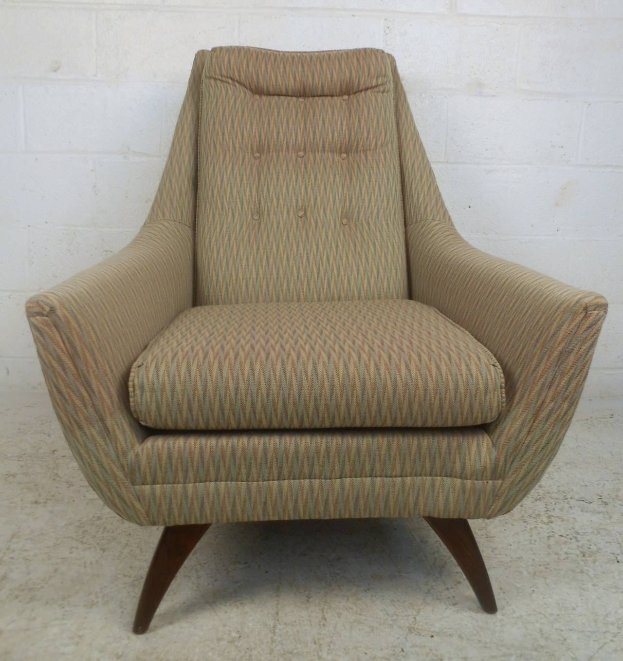 Adrian Pearsall Style Midcentury Tufted Lounge Chair For Sale at 1stdibs