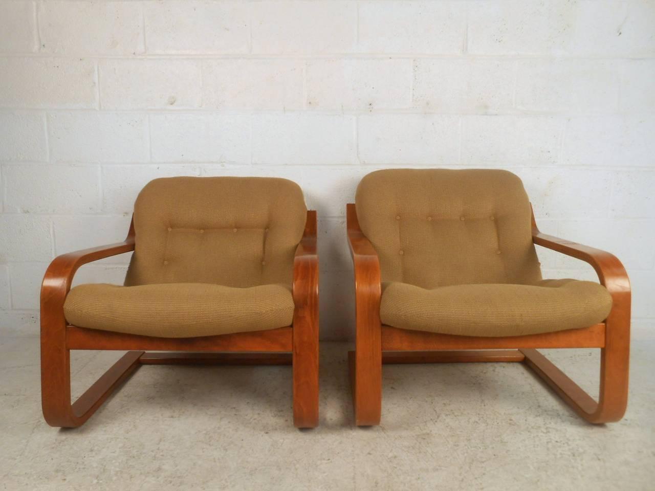 pair of midcentury scandinavian modern westnofa bentwood lounge