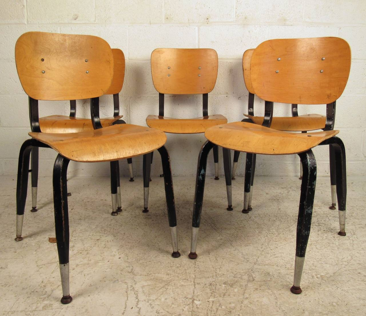 Set of Ten Vintage Bentwood Student Chairs For Sale 1