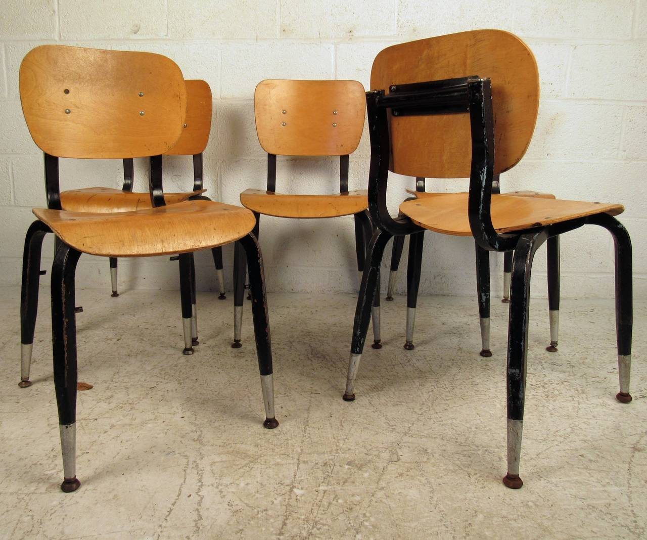 Set of Ten Vintage Bentwood Student Chairs For Sale 3