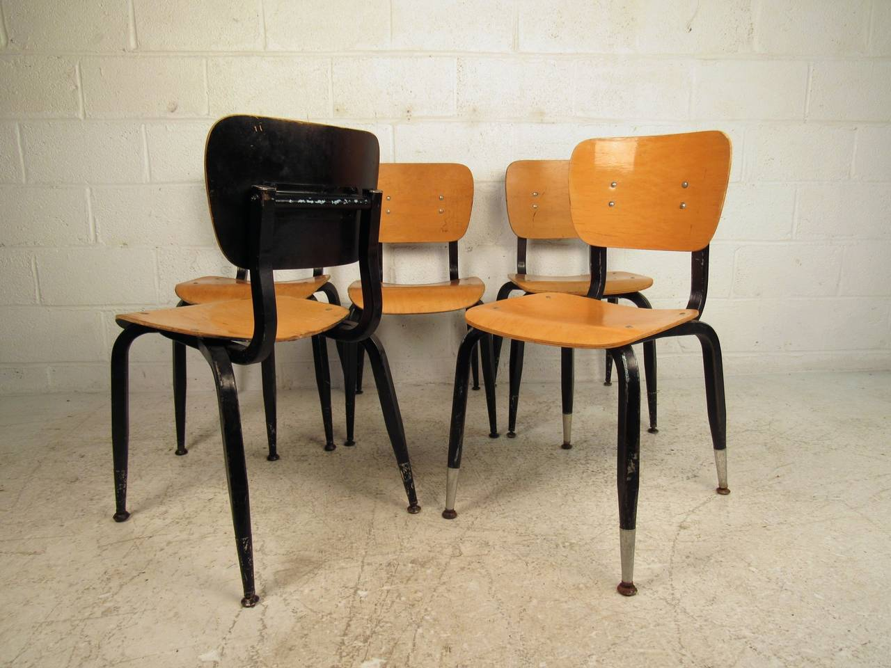 Set of Ten Vintage Bentwood Student Chairs For Sale 5