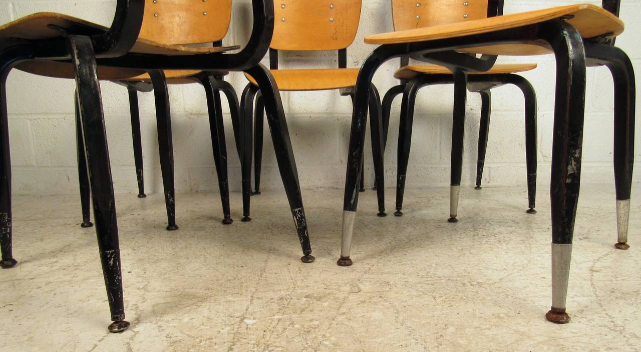 Set of Ten Vintage Bentwood Student Chairs For Sale 4