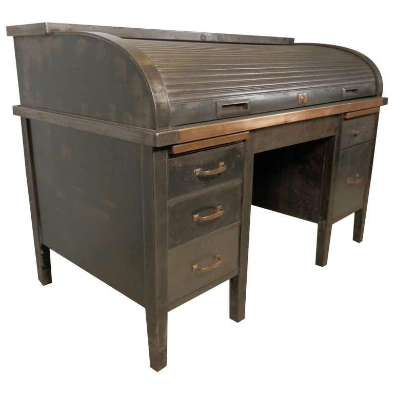 Large Roll Top Metal Desk W Brass Detailing At 1stdibs