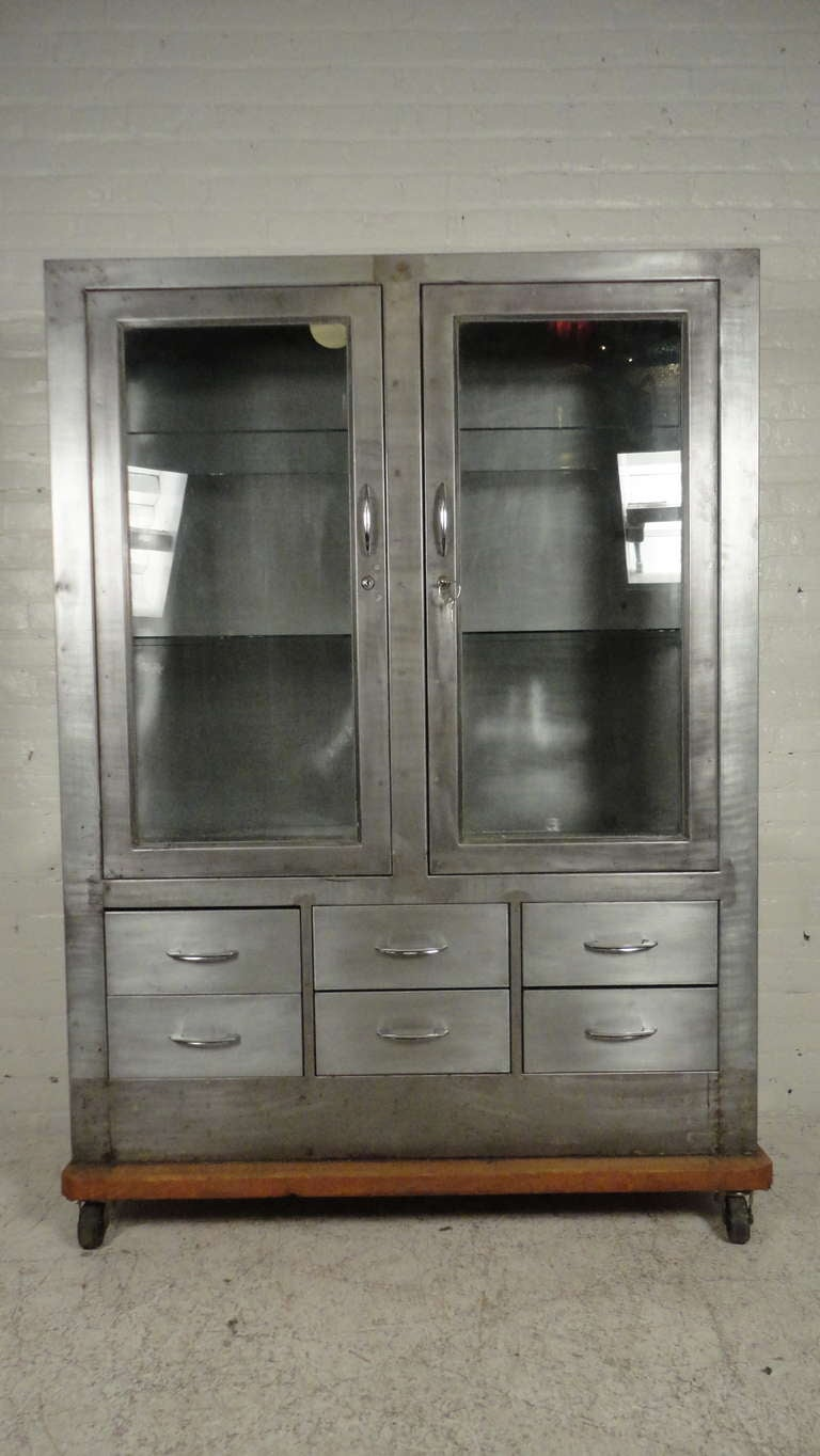 Metal Glass Display Cabinet Industrial Metal Glass Front Hutch On Casters At 1stdibs
