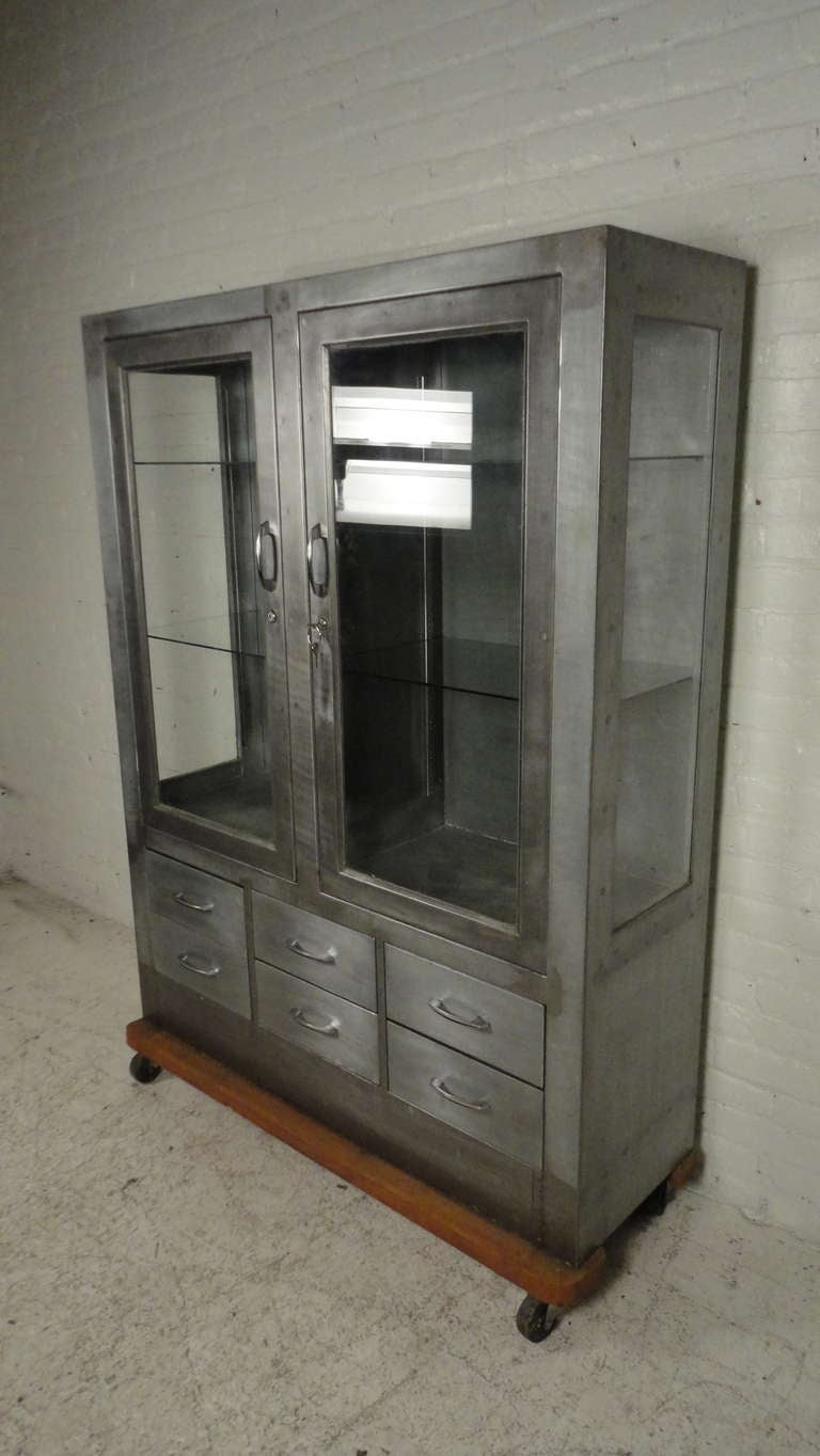 Industrial Metal Glass Front Hutch On Casters At 1stdibs