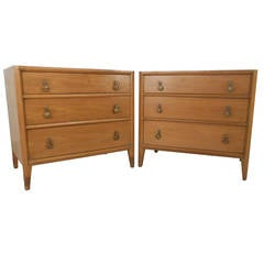 Pair Mid Century Three Drawer Dressers By Mount Airy Furniture Company