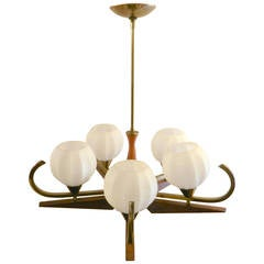 Mid Century Chandelier with Glass Globes