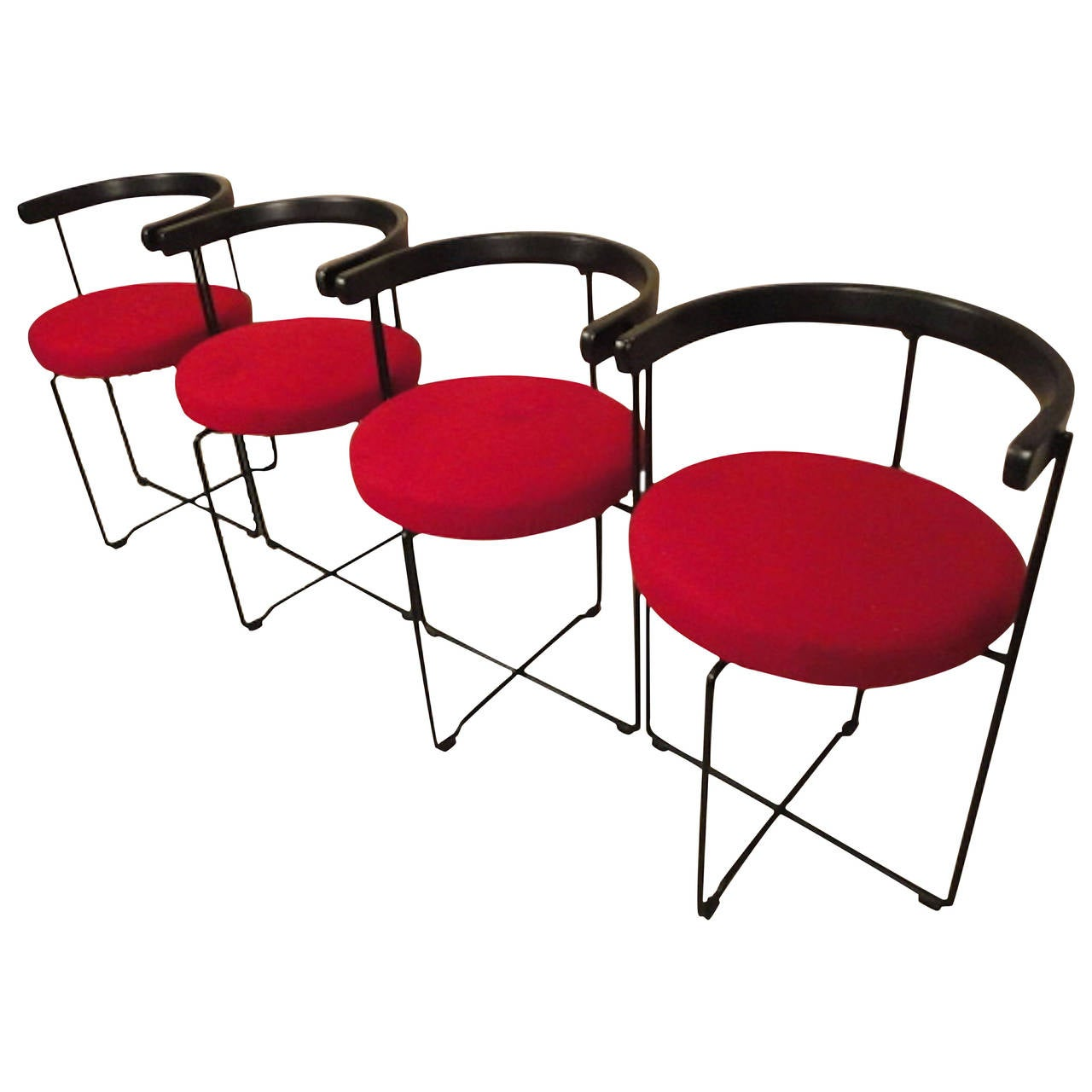 Four Mid Century Modern Style Round Back Chairs For Sale