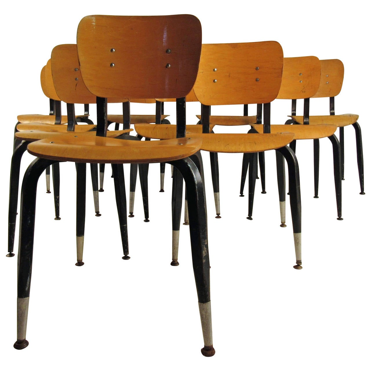 Set of Ten Vintage Bentwood Student Chairs For Sale