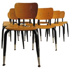 Set of Ten Vintage Bentwood Student Chairs