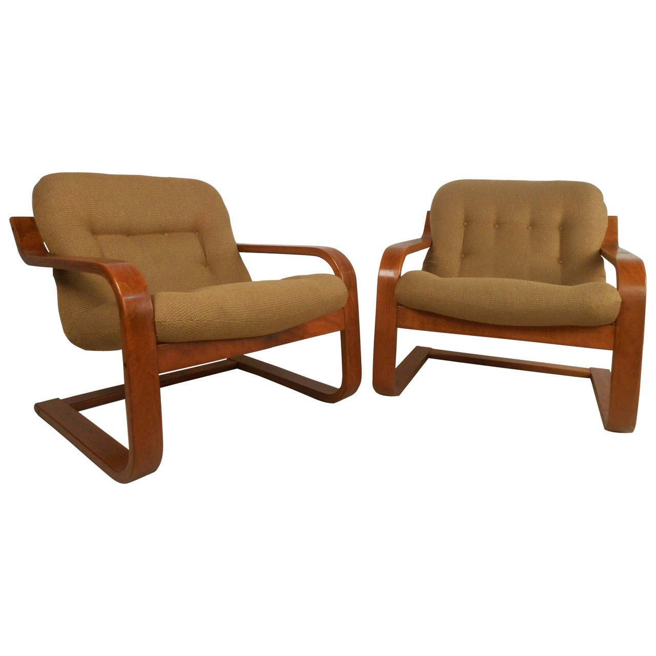 Pair of midcentury scandinavian modern westnofa bentwood for Contemporary lounge furniture