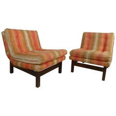 Pair of Midcentury Edward Wormley Dunbar Style Slipper Chairs