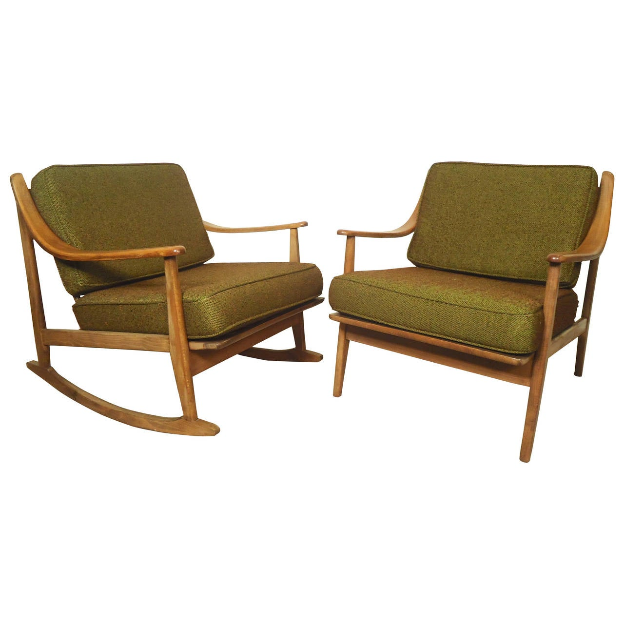 Peter hvidt style chair and rocker at 1stdibs - Stylish rocker recliner ...