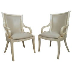 Pair of Mid-Century Modern Enrique Garcel Tessellated Bone Armchairs