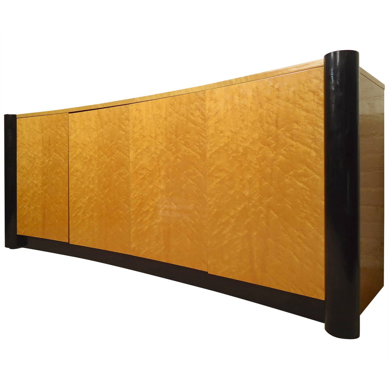 Curved Front Burl Wood Sideboard