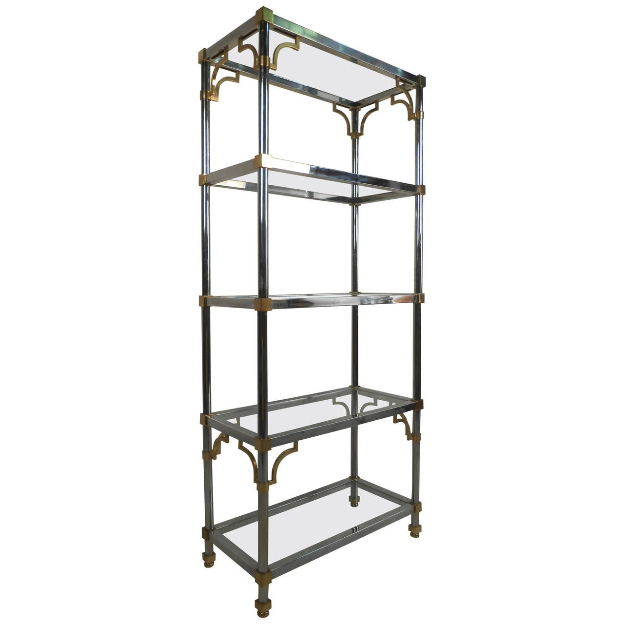 midcentury regency style chrome and brass etagere by maison jansen at 1stdibs. Black Bedroom Furniture Sets. Home Design Ideas