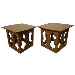 Mid-Century Pair of Sculpted Teak Side Tables