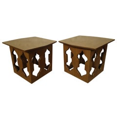 Mid-Century Pair of Sculpted Teak Side Tables