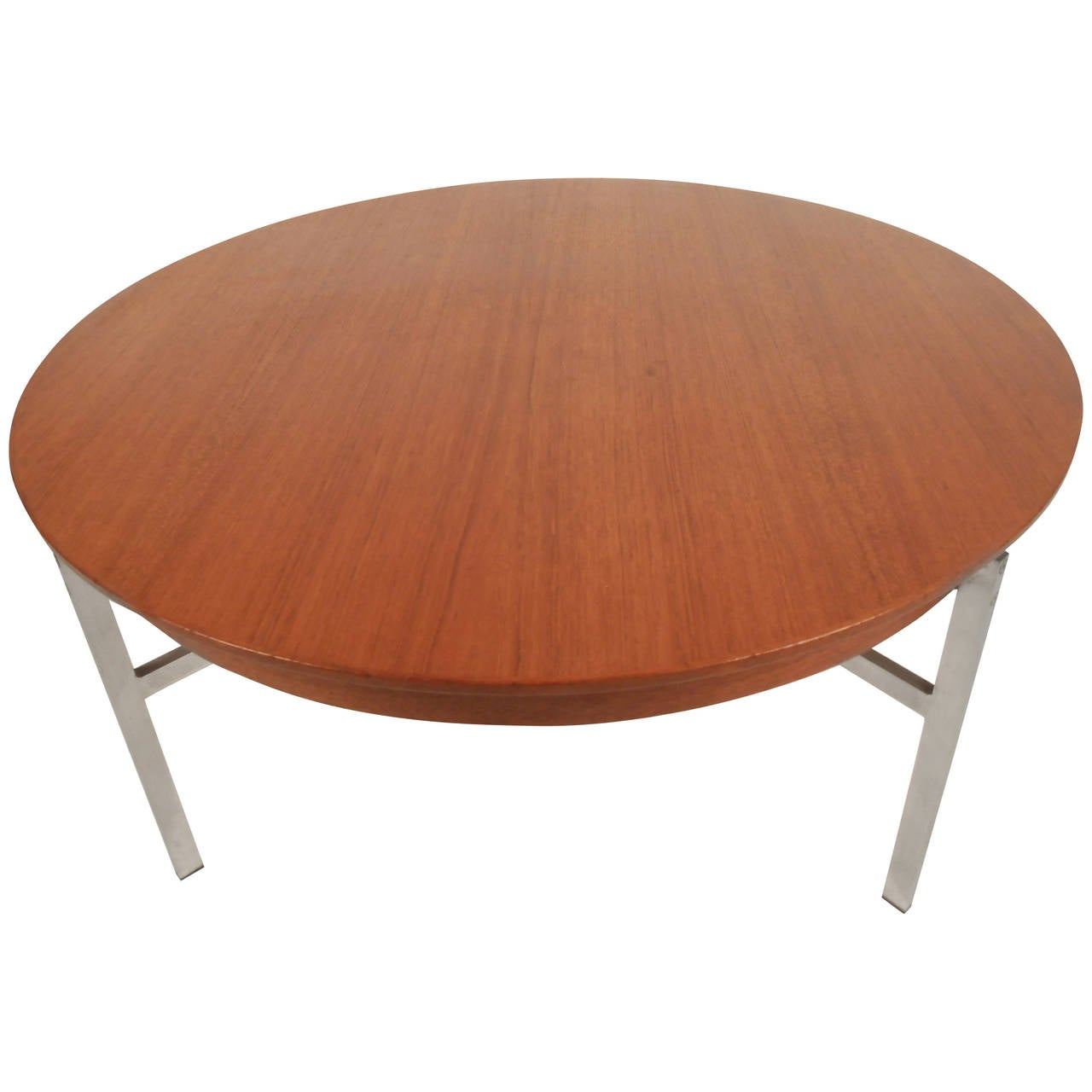 Mid-Century Modern Teak and Steel Coffee Table