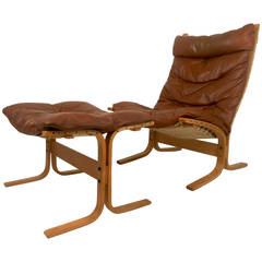Midcentury Westnofa Bentwood Chair with Ottoman