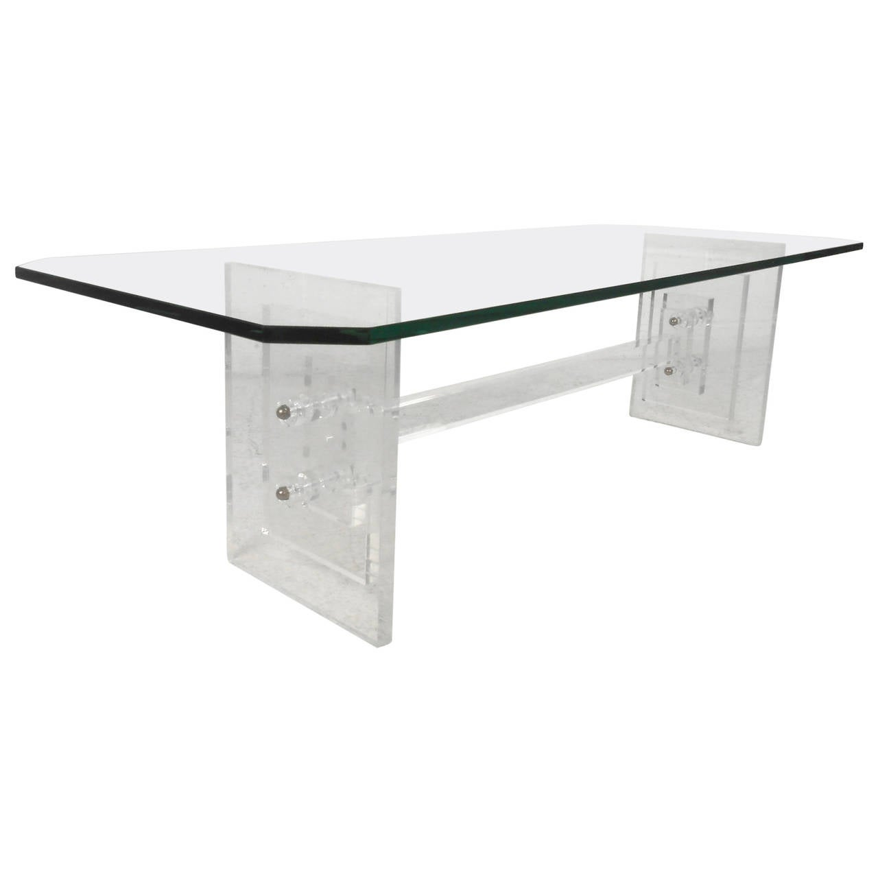 Lucite coffee table with octagonal glass top at 1stdibs for Octagon glass top coffee table