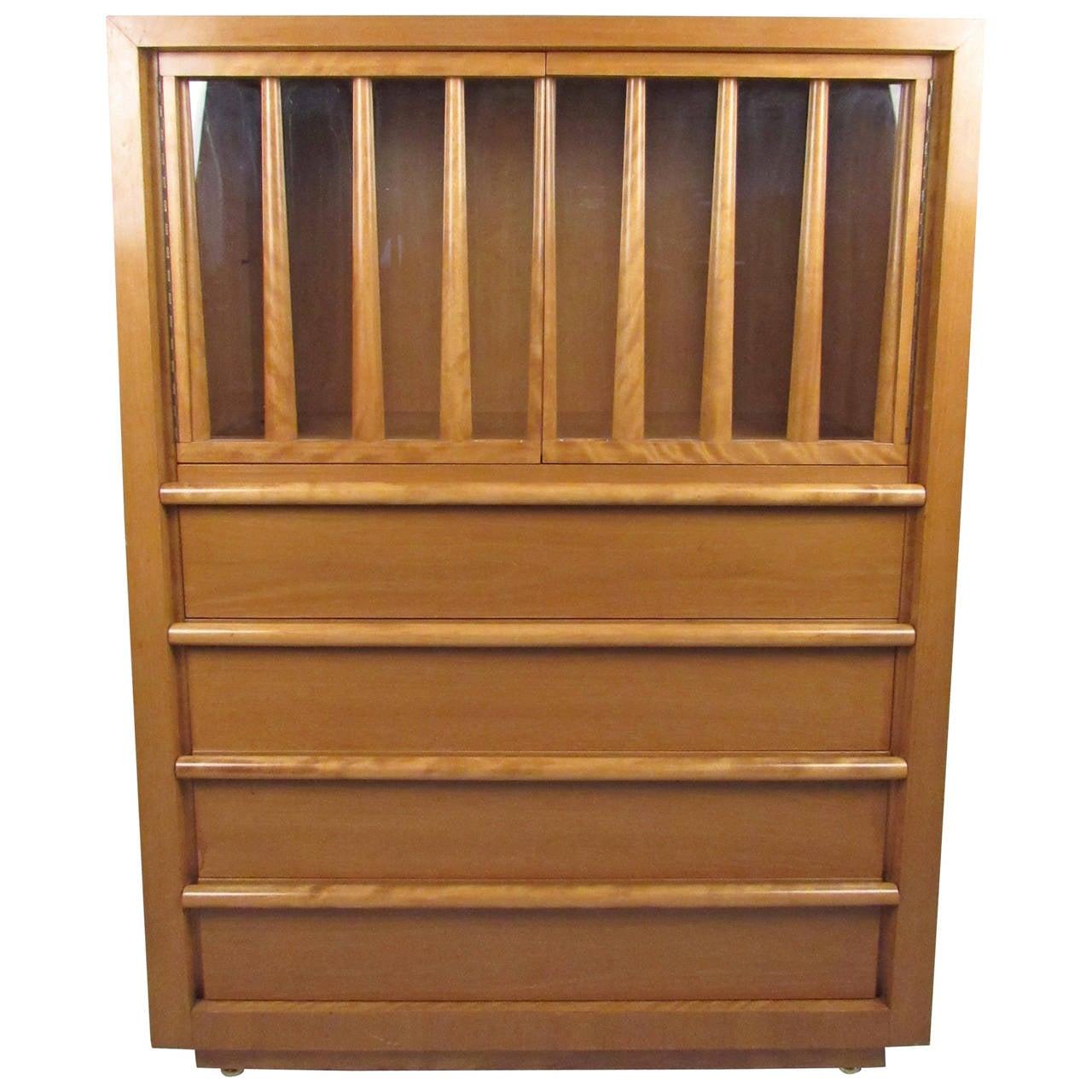 Vintage Maple Dresser with built in Desk by T.H. Robsjohn-Gibbings for Widdicomb
