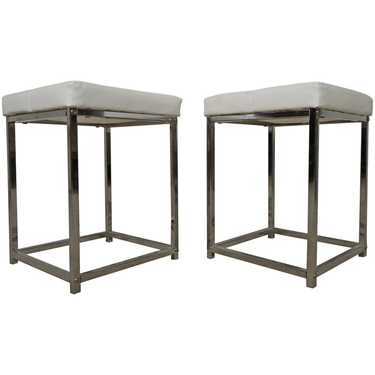 Pair of Baughman Style Midcentury White and Chrome Stools