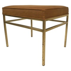 Hollywood Regency Style Upholstered Ottoman with Brass Base